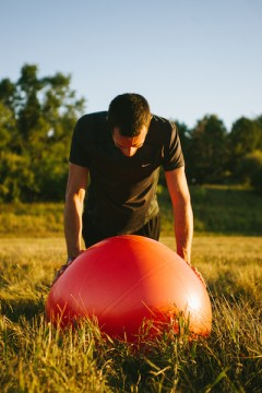 Drew planking with stability ball